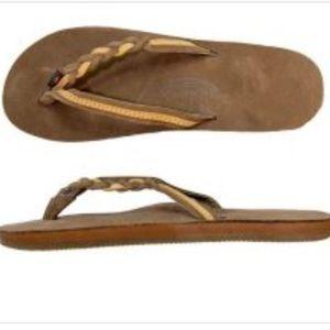 Rainbow Womens Braid Brown Flip Flop Thong Sandals